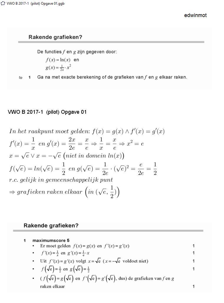 wiskunde opgave 1 vwo